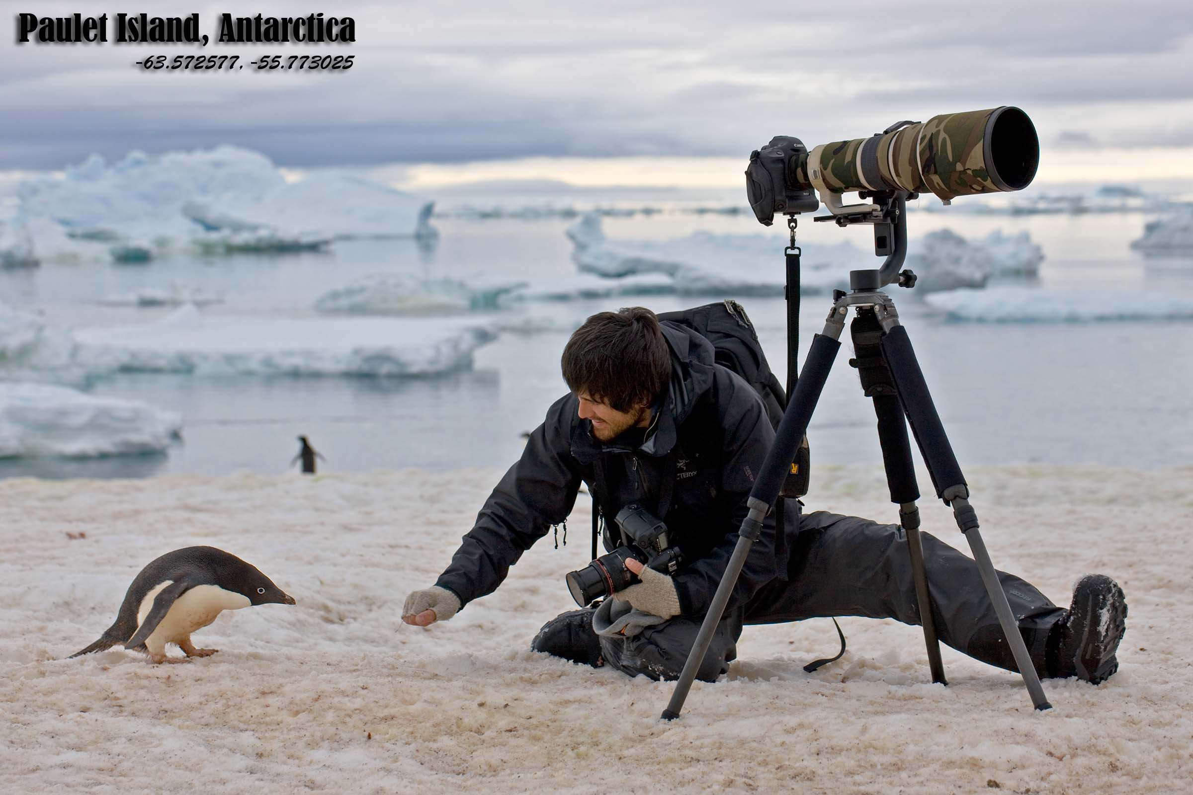 Christopher making friends with an Adelie Penguin on Antartica